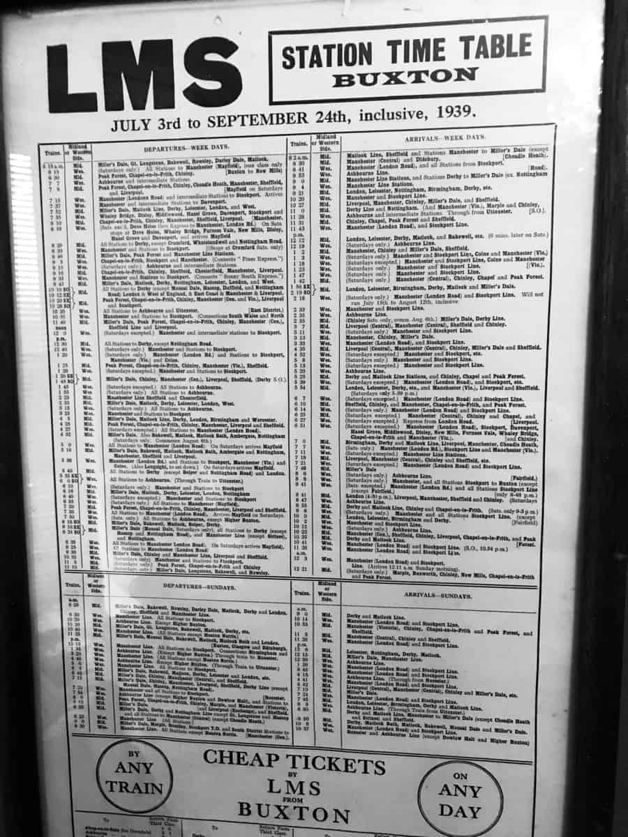 Old Buxton train time table